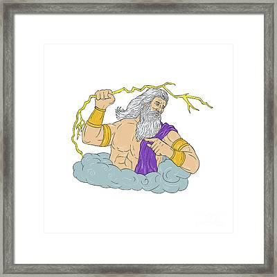Zeus Wielding Thunderbolt Lightning Drawing Framed Print
