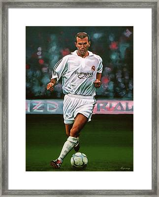 Zidane At Real Madrid Painting Framed Print by Paul Meijering