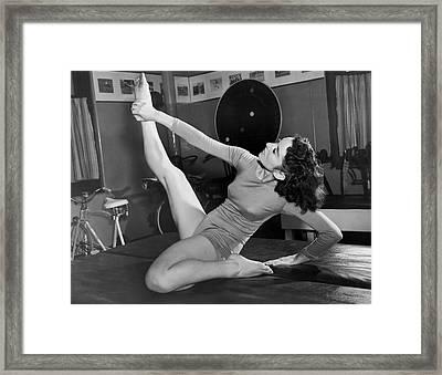 Ziegfeld Dancer Stays Limber Framed Print by Underwood Archives