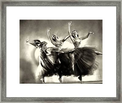Ziegfeld Model  Dancers By Alfred Cheney Johnston Black And White Ballet Framed Print