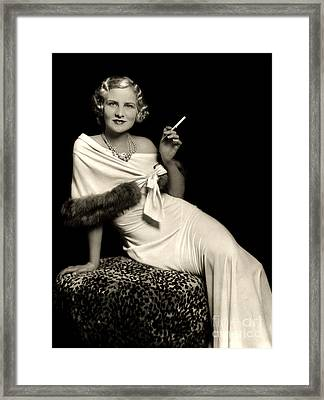 Ziegfeld Model Reclining In Evening Dress  Holding Cigarette By Alfred Cheney Johnston Framed Print