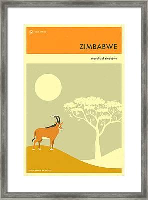 Zimbabwe Travel Poster Framed Print by Jazzberry Blue
