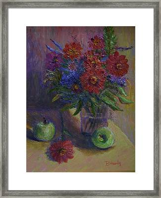 Zinnias And Apples Framed Print by Bonnie Hanly