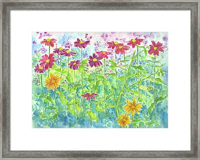 Framed Print featuring the painting Zinnias  by Cathie Richardson