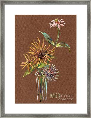 Zinnias Framed Print by Donald Maier