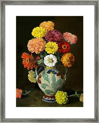 Zinnias In Decorative Italian Vase Framed Print