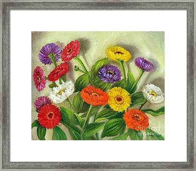 Framed Print featuring the painting Zinnias by Randol Burns