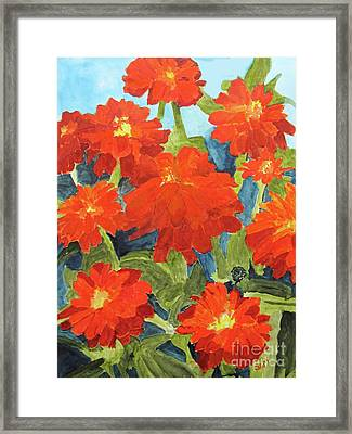 Framed Print featuring the painting Zinnias by Sandy McIntire