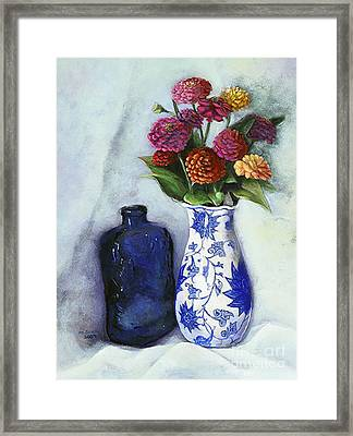 Zinnias With Blue Bottle Framed Print by Marlene Book