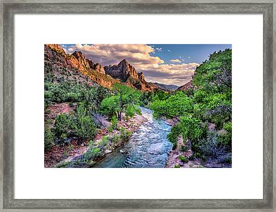 Zion Canyon At Sunset Framed Print