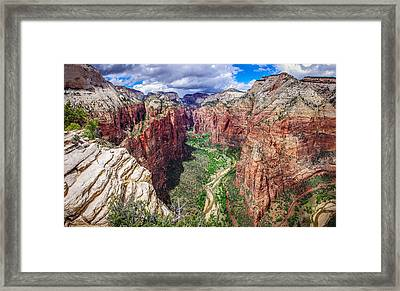 Zion Canyon From Angel's Landing Panoramic Framed Print by Scott McGuire