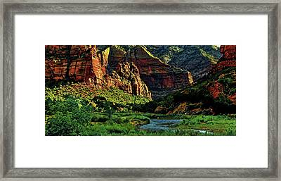 Zion Canyon River Framed Print by Russ Harris