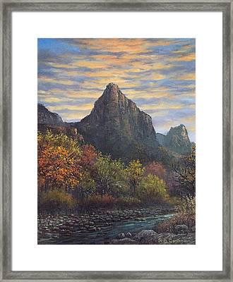 Zion Canyon Framed Print by Sean Conlon