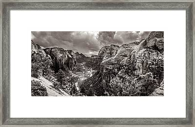 Zion Canyon Storm Black And White Framed Print by Scott McGuire