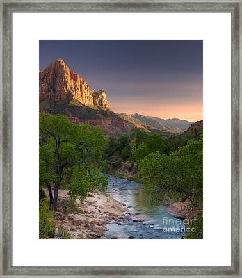 Zion Canyon Sunset Framed Print