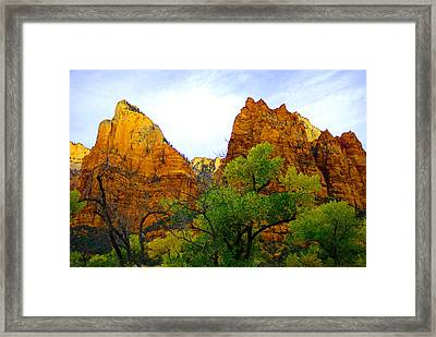 Zion In Autumn Framed Print by Dennis Hammer