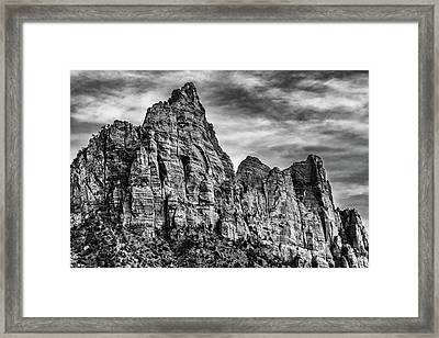Zion Mountains 2bw  Framed Print by Don Risi