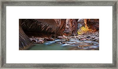 Zion Narrows Autumn Framed Print by Andrew Soundarajan