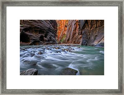 Framed Print featuring the photograph Zion Narrows by Wesley Aston