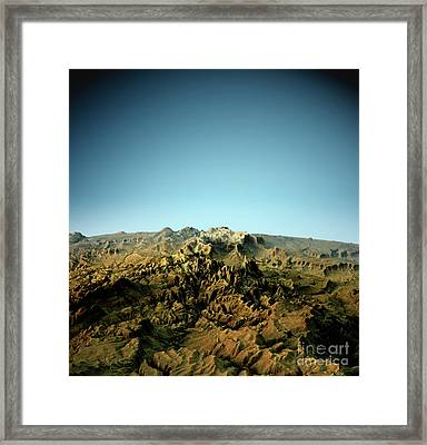 Zion National Park 3d View North-south Natural Color Framed Print by Frank Ramspott