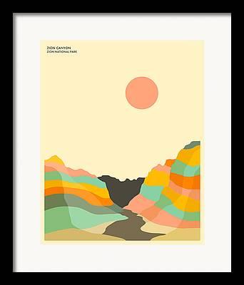 Zion National Park Digital Art Framed Prints