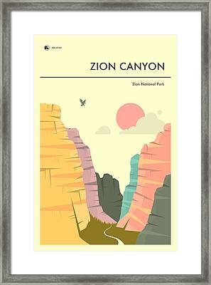 Zion National Park Poster Framed Print by Jazzberry Blue