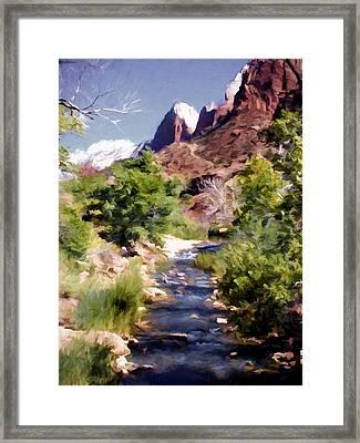 Zion National Park Spring Snow Runoff Framed Print by Elaine Plesser