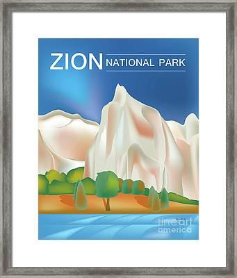 Zion National Park Vertical Scene Framed Print by Karen Young