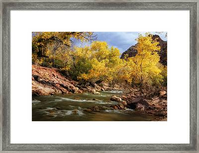 Zion River At Autumn Framed Print by Andrew Soundarajan