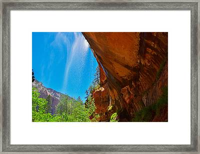 Zion - Under The Falls Framed Print