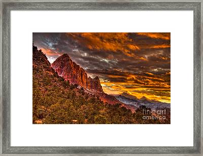 Zion's Fire Iv Framed Print by Irene Abdou