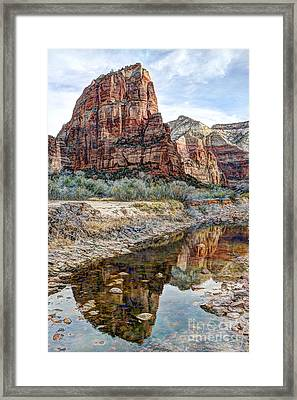 Zions National Park Angels Landing - Digital Painting Framed Print