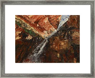 Framed Print featuring the painting Zions Waterfall by Jane Autry
