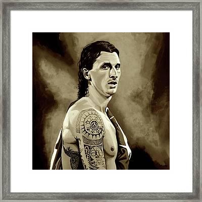 Zlatan Ibrahimovic Sepia Framed Print by Paul Meijering