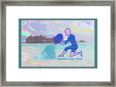 Zodiac Astrology Symbol Aquarius Jan 21 To Feb 18 Symbol Artistic Presentation Framed Print