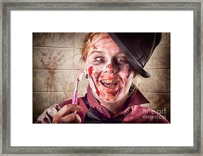 Zombie At Dentist Holding Toothbrush. Tooth Decay Framed Print by Jorgo Photography - Wall Art Gallery