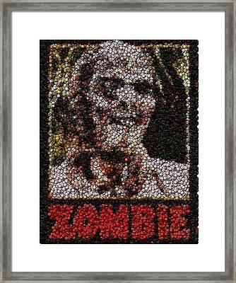 Zombie Bottle Cap Mosaic Framed Print by Paul Van Scott