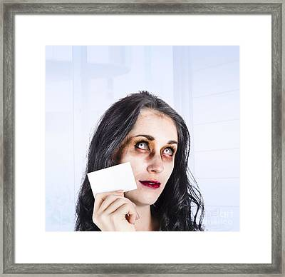 Zombie Business Person Thinking With Business Card Framed Print by Jorgo Photography - Wall Art Gallery