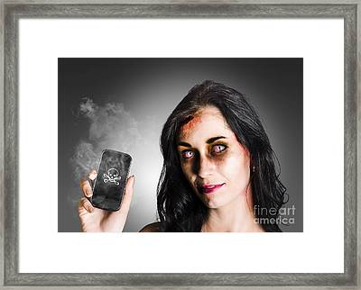 Zombie Business Woman Holding Dead Technology Framed Print by Jorgo Photography - Wall Art Gallery