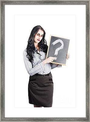 Zombie Businesswoman Framed Print