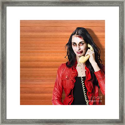 Zombie Call Centre Worker Cold Calling On Phone Framed Print by Jorgo Photography - Wall Art Gallery