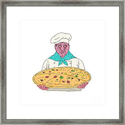Zombie Chef Holding Pizza Pie Grime Art Framed Print