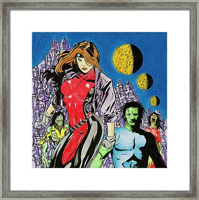 Zombie Encounter At Three Moon Canyon Framed Print by Alan Morrison