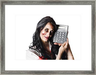 Zombie Finance Worker With Calculator Framed Print