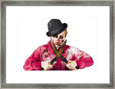 Zombie Gardener With Shears Framed Print by Jorgo Photography - Wall Art Gallery