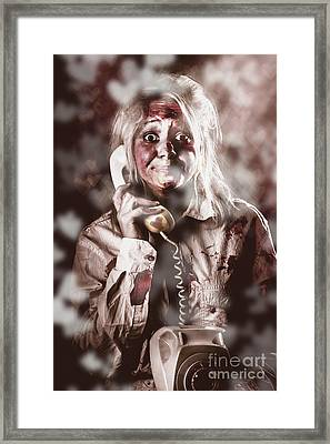 Zombie Girl Making Phone Call To Dead Valentine Framed Print by Jorgo Photography - Wall Art Gallery