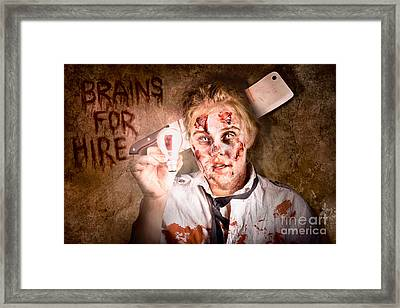 Zombie Holding Bright Light Bulb. Brains For Hire Framed Print by Jorgo Photography - Wall Art Gallery