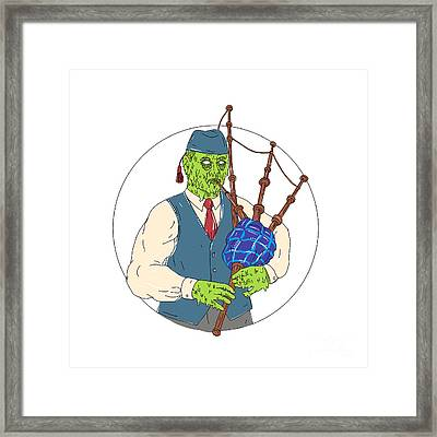 Zombie Piper Playing Bagpipes Grime Art Framed Print