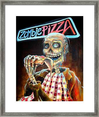 Zombie Pizza Framed Print by Heather Calderon
