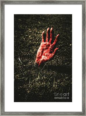 Zombie Rising From A Shallow Grave Framed Print by Jorgo Photography - Wall Art Gallery